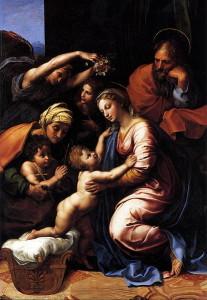 Devra-t-on ajouter la femme de Jésus au portrait de la Saint-Famille? Ici, une toile de Raphaël. 1815 environ. Musée du Louvre.