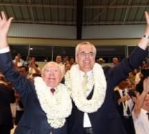 Gaston Flosse assiste aux célébrations des 170 années de présence de l'Église Mormone en Polynésie française