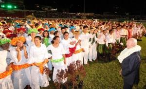 La célébration des 170 de la présence mormone en Polynésie française fut célébrée dans le stade Pater | Photo : via Tahiti Infos