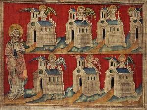 Les sept Eglises d'Asie, Tapisserie de l'Apocalypse, Angers | Via architecture.relig.free.fr