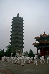 Les participants prennent part aux leçons quotidiennes de Tai Chi matinal. En arrière-plan, une des pagodes du monastère de Guanyin | Photo : Karl-Stephan Bouthillette