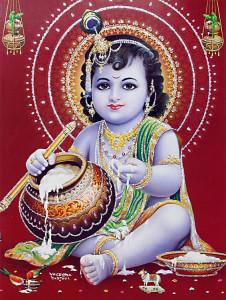 Le jeune Krishna mangeant du beurre