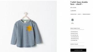 Capture d'écran du produit sur le site de Zara avant son retrait