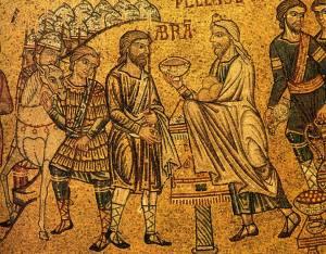 Abraham et Melchisédech, mosaïque du XIIIe siècle, Basilique San Marco, (Venise, Italie)
