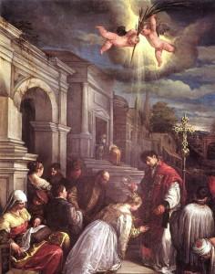 St Valentine baptizing st Lucilla | Jacopo Bassano