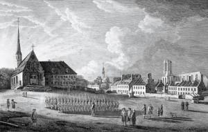 Vue de la cathédrale, du collège des Jésuites et de l'église des Récollets de Québec en 1761 | Richard Short